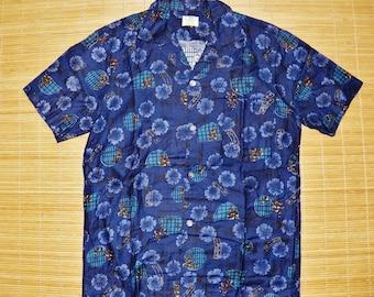 Mens Vintage 60s Mod UI Maikai Blue Hawaiian Tiki Oasis Shirt - S -The Hana Shirt Co