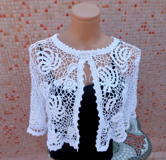 Irish Crochet White Bridal Bolero OOAK