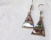 Vintage Geometric Mexican Earrings Inlaid Abalone Triangle Dangles