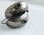 Vintage Native American Stamped Sterling Silver Earrings Hoops with Onyx HUGE