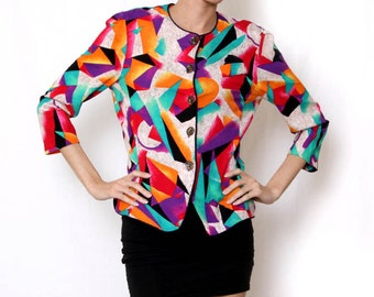 Vintage 80s Bright Color Top/blazer