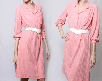 Vintage 70s Pink Collared Knee Length Dress