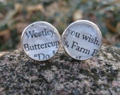 """Princess Bride, Buttercup & Westley Cufflinks. """"As You Wish"""".  Wedding, Men's Christmas Gift, Dad. Silver Plated. CUSTOM ORDERS WELCOME"""