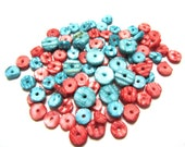 Coral and Teal Shell Beads