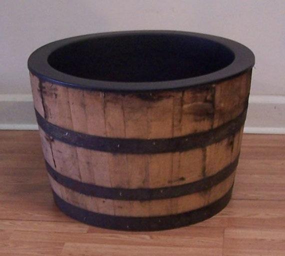 White Whiskey Barrel ~ Half genuine white oak whiskey barrel with black plastic