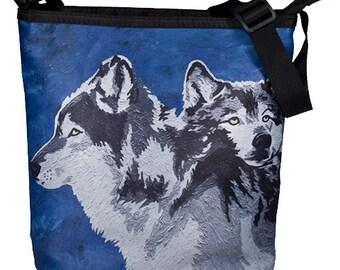 Wolf Small Cross Body Handbag by Salvador Kitti - Wolves Bucket Handbag - From My Painting, Spirited Pack