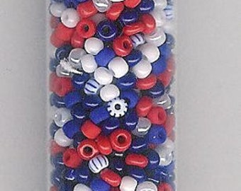 11/0 Seed Bead Red, White and Blue Patriotic Mix-25 gram/5 inch tube