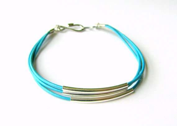 Turquoise Leather Bracelet with Silver Tubes