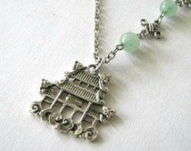 Pagoda necklace light green jade jewelry antiqued silver chinese oriental house necklace
