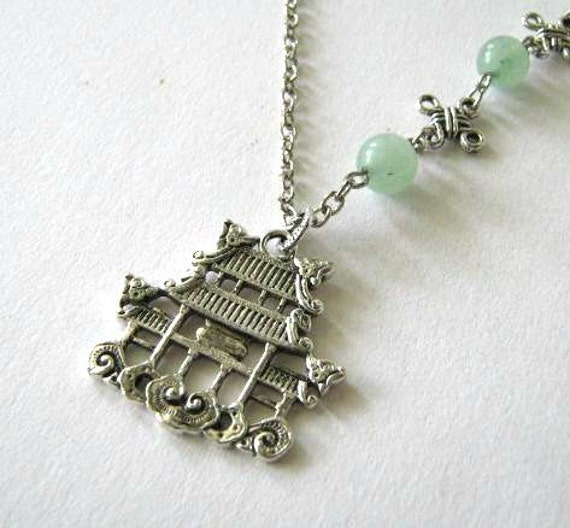 pagoda necklace light green jade jewelry antiqued silver