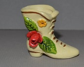 Miniature Bisque Porcelain Boot with Red Rose