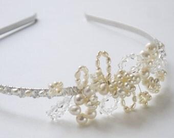 pearl crystal headband - freshwater pearl & clear crystal side tiara ivory rice pearl silver bridal alice band headband