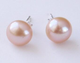 pink pearl studs freshwater pearl sterling silver 9mm stud earrings