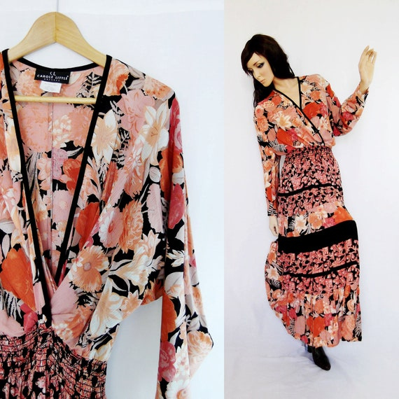 RESERVED ITEM: Gauze Wrap Dress M, Peach Floral and Black, by Carol Little, Vintage 1980's