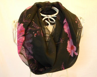 Infinity Scarf Black and Pink Floral Chiffon Circle Scarf (itm162)