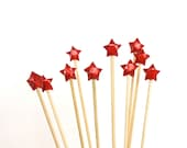 Red Origami stars cake toppers Sparkling