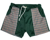 Frankie Four Handmade Men's Vintage Style Green and Orange Patterned Swim Trunks