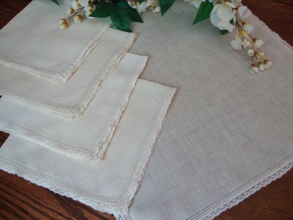 Vintage Napkins Set of Five Lace Trim