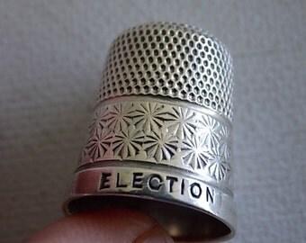Vintage Silver ELECTION 1929 English Thimble COLLECTABLE