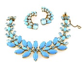 1960s Turquoise & Aquamarine Bracelet Earrings By Schreiner