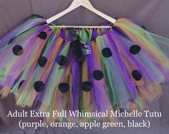 Whimsical Michelle Tutu- purple, black, orange, apple green with black polka dots