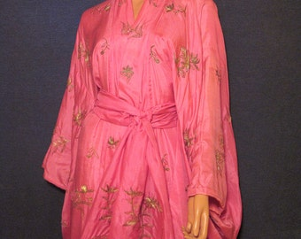 Antique Edwardian Vantine Orientalist Silk Kimono Circa 1900