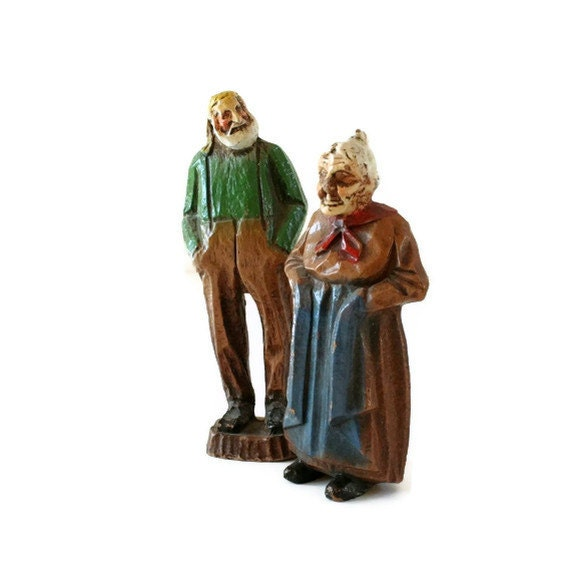 Vintage Composite Wood Man and Woman