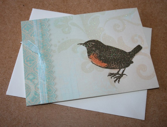 Handcrafted Blank Card, Little Brown Bird, Happy Birthday, Thank You, Thinking of You, Get Well