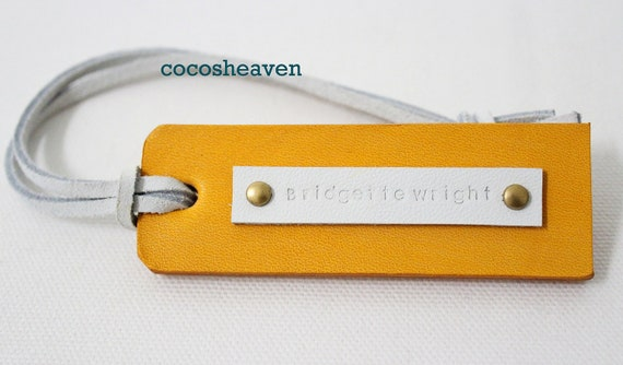 Custom Leather Luggage Tag - Yellow Double Sided - For Her - Perfect Gift for Birthday, Wedding or Anniversary