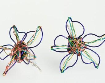 Blue flower earrings Flowers earrings Flower design earrings Earrings flowers Flower post earrings Blue stud earrings Designer stud earrings