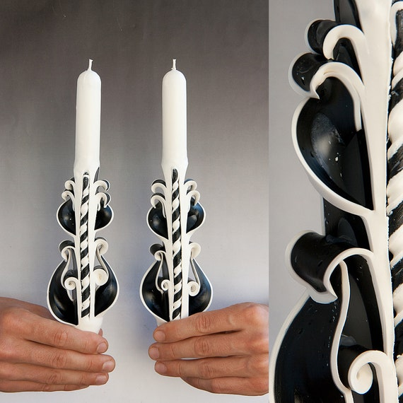 Taper candles - Candle set - Carved candles - Black and white