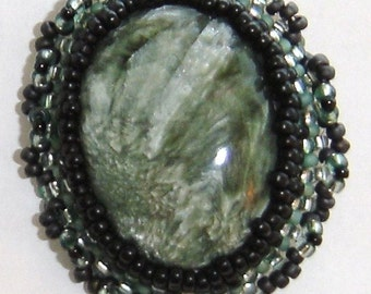 Seraphinite Beaded Pin