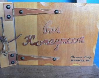 vintage book, Our Honeymoon, Pennsylvania, wooden, scrap, wedding gift, from Diz Has Neat Stuff