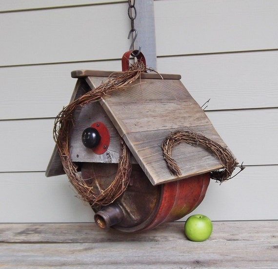 Rusty Red Gas Can Birdhouse, Whimsical Birdhouse, Outdoor Birdhouse, Masculine, Repurposed, Reclaimed, Grapevine, Barnboard, Vintage Gas Can