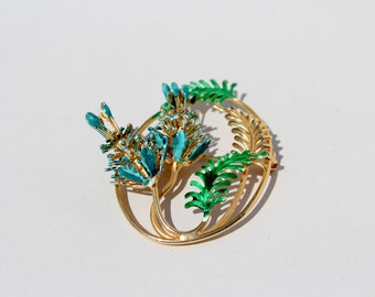 metal rhinestone brooch : pin flower sixties gold green blue pine cone leaves