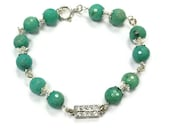 Chrysoprase Bracelet Green Jewellery Sterling Silver Jewelry Gemstone Wire Wrapped Crystal Connector Glam B-281