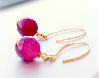 Fuschia Earrings - Hot Pink Fluorescent - Gold Jewelry - Agate Gemstone Jewellery - Spring - Fashion - Vibrant - Neon