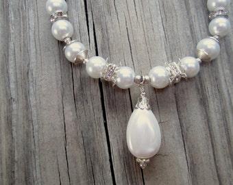 Pearl Bracelet - June Birthstone - Wedding Bracelet - Silver Jewelry - Crystal Jewellery - Bride - Box Clasp B-L