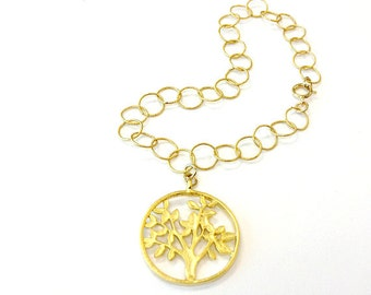 Gold Vermeil Bracelet Link Chain Jewelry Tree of Life Charm Jewellery Pendant Handmade Unique Everyday Fashion B-309 310 311