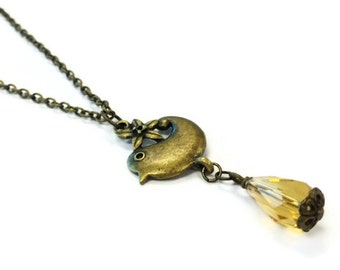 Brass Necklace - Chain Jewelry - Yellow Crystal Pendant Jewellery - Bird - Lariat - Nature - Unique - Summer - Fashion