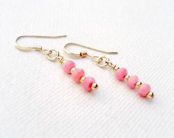 Pink Earrings - Coral Gemstone Jewelry - Yellow Gold Jewellery - Minimal - Dangle ER-187 188