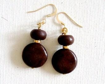Brown Earrings - Turquoise Gemstone Jewellery - Gold Jewelry - Boho - Fall Fashion - Autumn - Earthy - Natural
