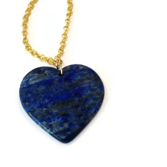 Navy Blue Necklace - Lapis Heart Pendant - Yellow Gold Jewelry - Lapis Lazuli Gemstone Jewellery - Long Chain - Denim N-TBM