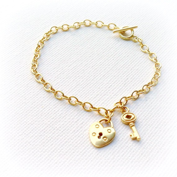 gold charm bracelet lock key everyday by jewelrybycarmal