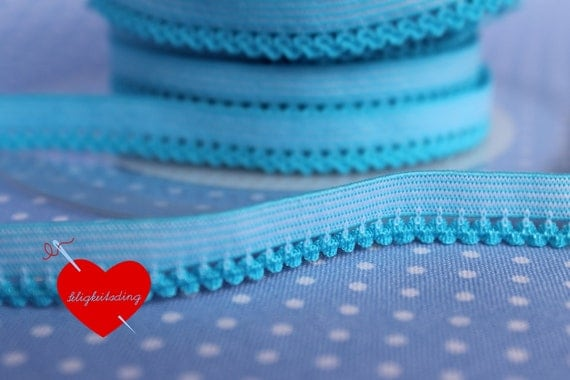 3 meters turquoise striped elastic trim with color-coordinated zigzag