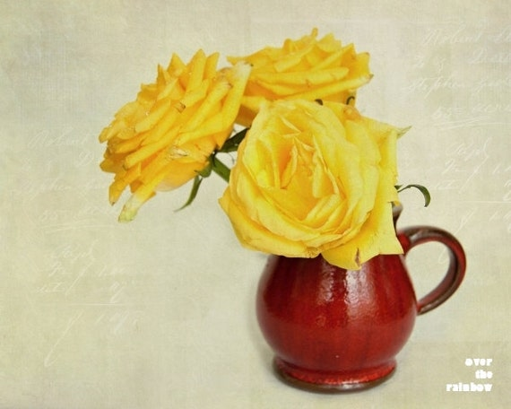 Yellow roses in a Red pitcher, Shabby chic home, Nature photography,  Floral still life, French country home, Flower print, Mothers day gift