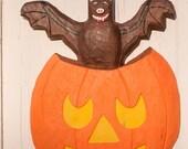 Halloween Pumpkin with Flying Bat Wood Carving, Folk Art, Whimsical, Wall Decor