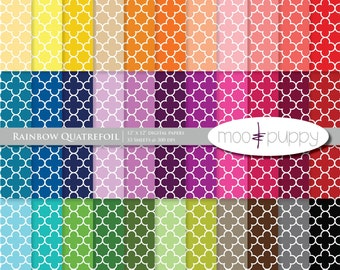 Mega SALE:   Digital Scrapbook Paper Pack  --  Rainbow Quatrefoil -- INSTANT DOWNLOAD