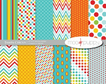 Digital Scrapbook Paper Pack  --  Tampa Circus -- INSTANT DOWNLOAD