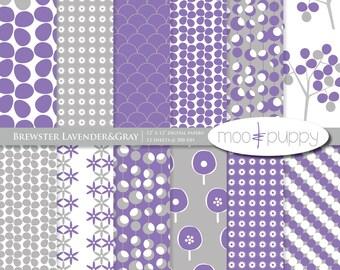 Brewster Lavender&Gray - Digital Scrapbook Paper Pack  -- INSTANT DOWNLOAD